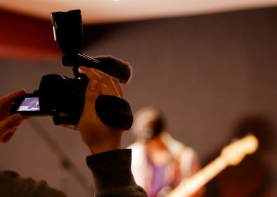 Sound and video production of a reformatted band